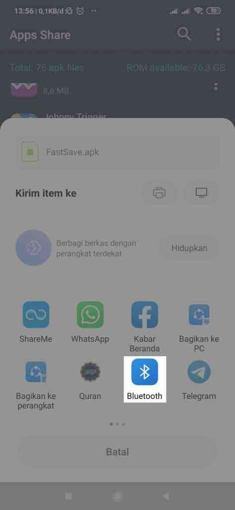 apps share 3. kirim lewat bluetooth
