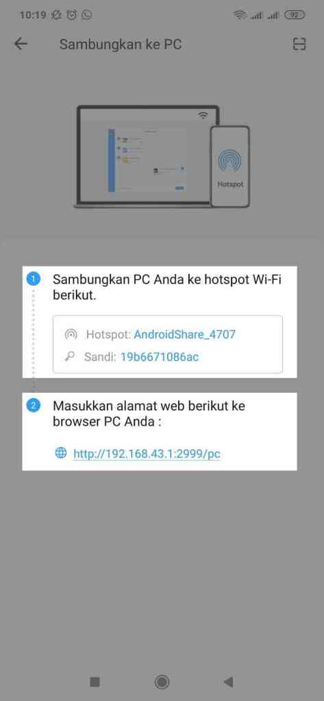 shareit 5. sambungkan laptop ke jaringan wifi shareit