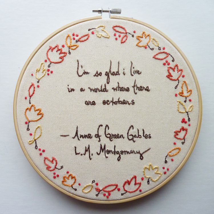 Octobers Embroidery Pattern, Word Series