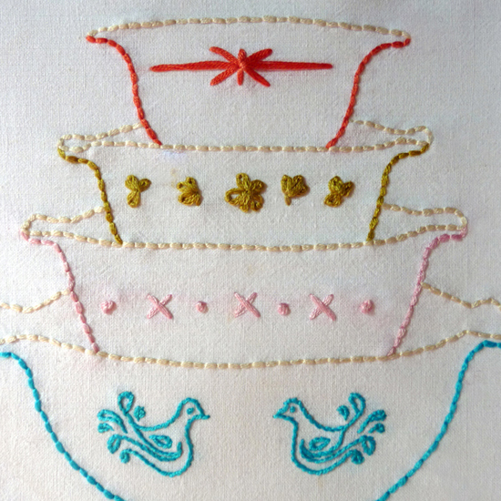 Vintage Bowls Embroidery Pattern, Vignette Series