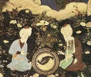 The prophets Elias and Khadir at the fountain of life, late 15th century.