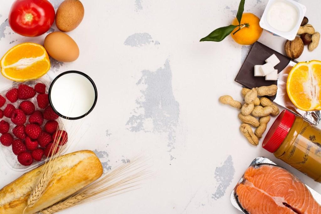 Food allergens like wheat, fish, peanuts, etc