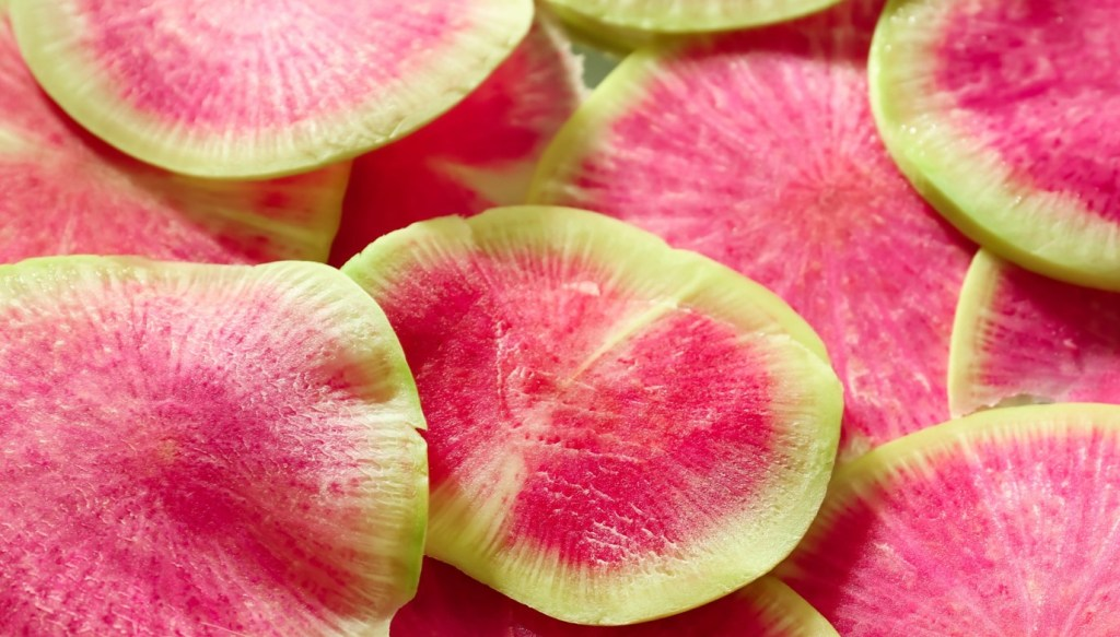 Close up image of watermelon radishes