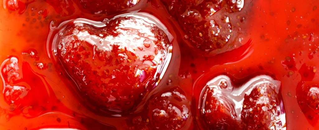 Strawberry jam close up