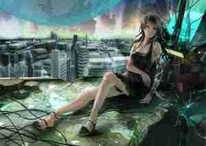 brunettes women ruins cityscapes dress original planets cleavage android long hair buildings technol_www.wall321.com_57