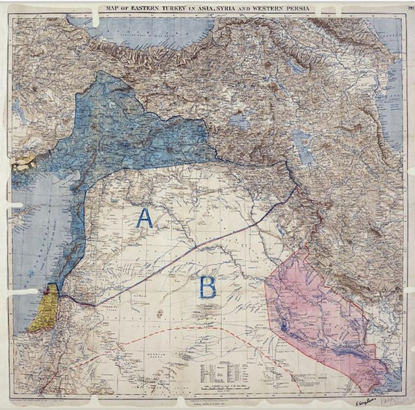 Sykes-Picot Agreement line (Image: Royal Geographic Society)