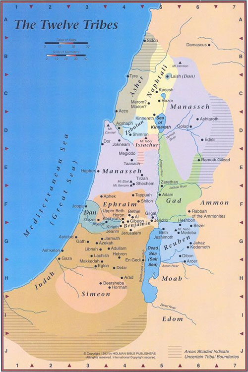 The boundaries of the Twelve Tribes