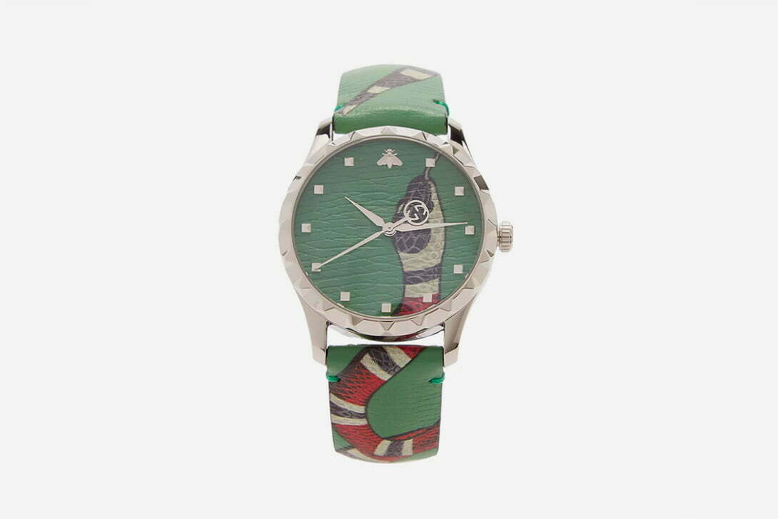 "New Gucci Leather Watch With Popular ""Kingsnake"" Graphic"