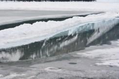 Part frozen lake
