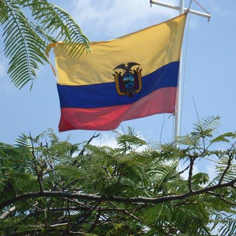 Ecuadorian flag on landing jetty