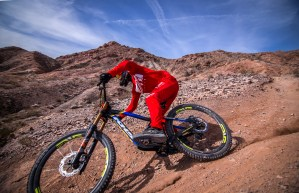 KHS Mountain Biker Riding downhill in the desert
