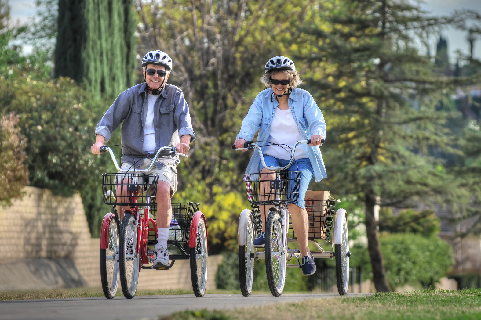 Two riders for an afternoon ride on their ride on Manhattan Adult Trikes