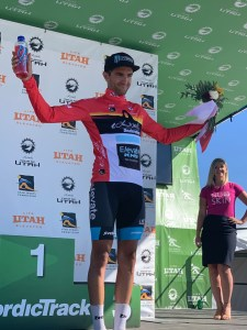 Elevate KHS pro cycling's James Piccoli on the Tour of Utah podium in second place overall.