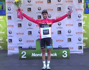 Elevate KHS pro cycling's James Piccoli on the Tour of Utah podium