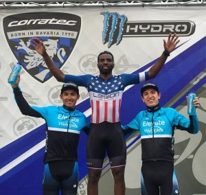 KHS Elevate Webiplex team riders Alfredo Rodriguez and Gavin Hoover in 2nd and 3rd place at the Roger Millikan Memorial Crit.