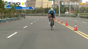 KHS Elevate Webiplex team rider, Adam Roberge in a single man brake away at the Tour de Taiwan.