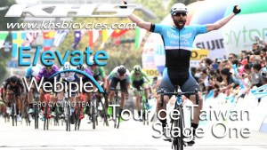 KHS Elevate Webiplex team rider, Eric Young crossing the finish line in 1st place in the first stage of the Tour de Taiwan.