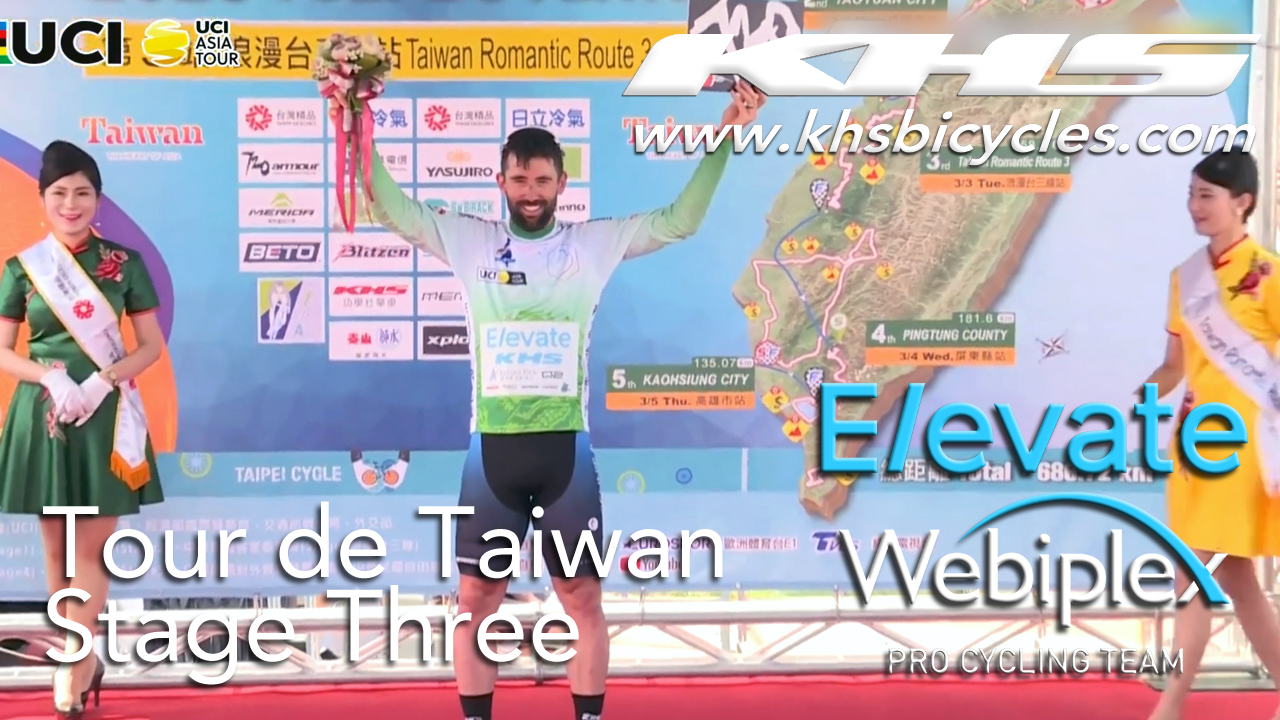 KHS Elevate Webiplex team rider, Eric Young on podium for being sprint leader in the third stage of the Tour de Taiwan.
