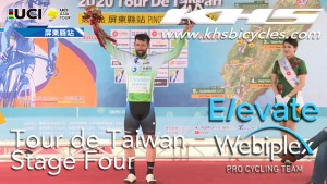KHS Elevate Webiplex team rider, Eric Young on podium for being sprint leader in the fourth stage of the Tour de Taiwan.