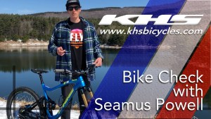 KHS pro MTB team rider Seamus Powell standing with his KHS 7500 bike for bike a check