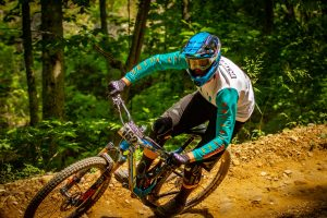 KHS Pro MTB team rider Seamus Powell riding in Windrock Tennessee.