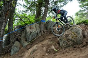 KHS Sponsored Rider Kailey Selton rides downhill at the Tamarack NW Cup