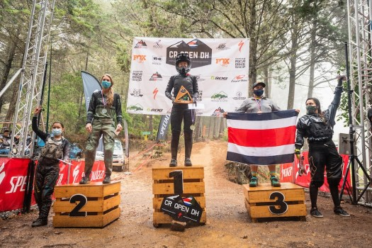 KHS Pro MTB rider Kailey Skelton standing in first place at the Costa Rica World Cup race.
