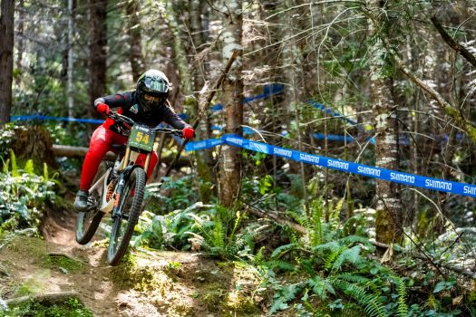 KHS pro MTB rider Kailey Skelton on track during a practice run at the Northwest Cup in POrt Angeles.