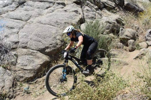 KHS Pro MTB rider Kailey Skelton racing on the Enduro track out Fontana at the Finals of the Southridge WInter Series.
