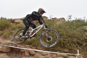 KHS Pro MTB rider Steven Walton racing on the DH track out Fontana at the Finals of the Southridge WInter Series.