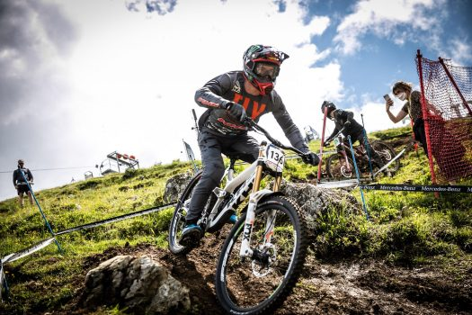 KHS Pro MTB RIder Nik Nestoroff getting in a practice run at the first World Cup race of 2021 in Leogang, Austria.