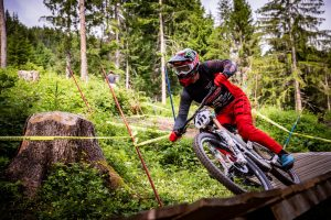 KHS Pro MTB rider Nik Nestoroff on his practice run during Friday's practice at the 2021 Crankworx even in Innsbruck, Austria