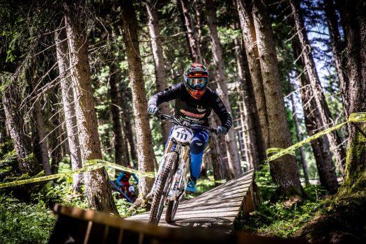 KHS Pro MTB rider Nik Nestoroff on his practice run during Saturday's practice at the 2021 Crankworx even in Innsbruck, Austria