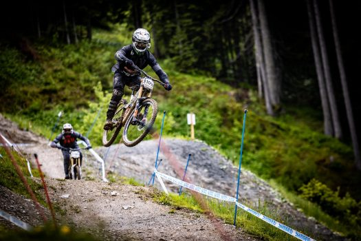KHS Pro MTB RIder Steven Walton getting in a practice run at the first World Cup race of 2021 in Leogang, Austria.