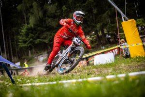 KHS Pro MTB rider Steven Walton on his race run at the 2021 Crankworx even in Innsbruck, Austria.