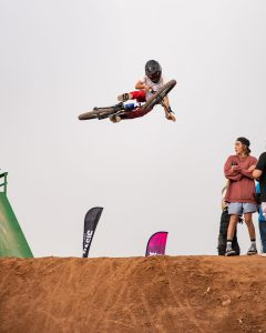 KHS Pro MTB rider Dylan Cobern riding the freeride jumps at the Landslide Music Fest in Cedar City Utah