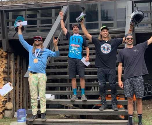 KHS Pro Mtb rider Naish Ulmar on the podium in first place at the second race of the Utah Gravity Series in Pomerelle Idaho.