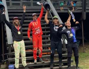 KHS Pro Mtb rider Naish Ulmar on the podium in first place at the third race of the Utah Gravity Series in Pomerelle Idaho.