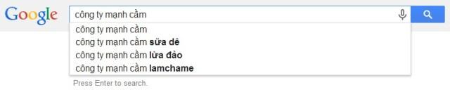 """Kết quả """"suggestions"""" của công cụ tìm kiếm Google ngày 2/3/2014"""