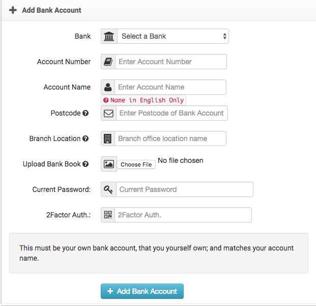 Add Bank Account BX