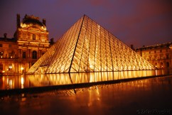 A long exposure shot of the beautiful louvre Pyramid in golden glory