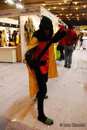 A fan dons the hood of the Batman's newest Robin