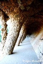 Beautiful rock hallways created by Gaudi in Park Guell