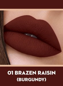 01 Brazen Raisin (Burgundy) Of Sugar Smudge Me Not Liquid Lipstick