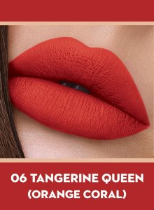 06 Tangerine Queen (Orange Coral) Of Sugar Smudge Me Not Liquid Lipstick