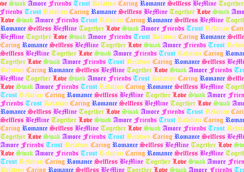 Love Words background pink with color words