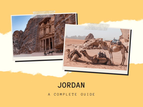 jordan travel guide poster with a photo of Petra and Wadi Rum