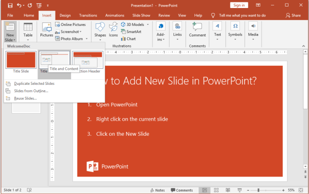 How to Insert a New Slide in the Current Presentation