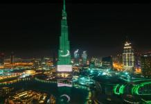 د يوم پاکستان په مناسبت سره برج خليفه باندې هم سبز هلالي پرچم جوړ کړې شوي