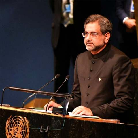 PM Khaqan Abbasi addressing at the UN General Assembly